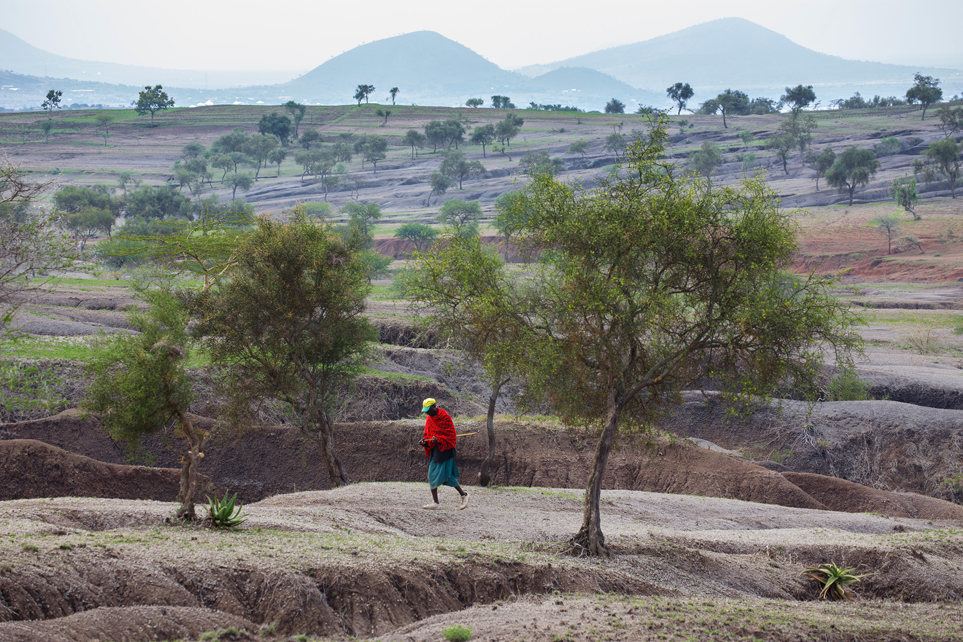 The global threats of climate change and population growth are key catalysts of the soil erosion challenge that is pushing these East African landscapes towards a tipping point. Going beyond it could isolate communities from the resources they rely on. A lone Maasai having to walk across the broken