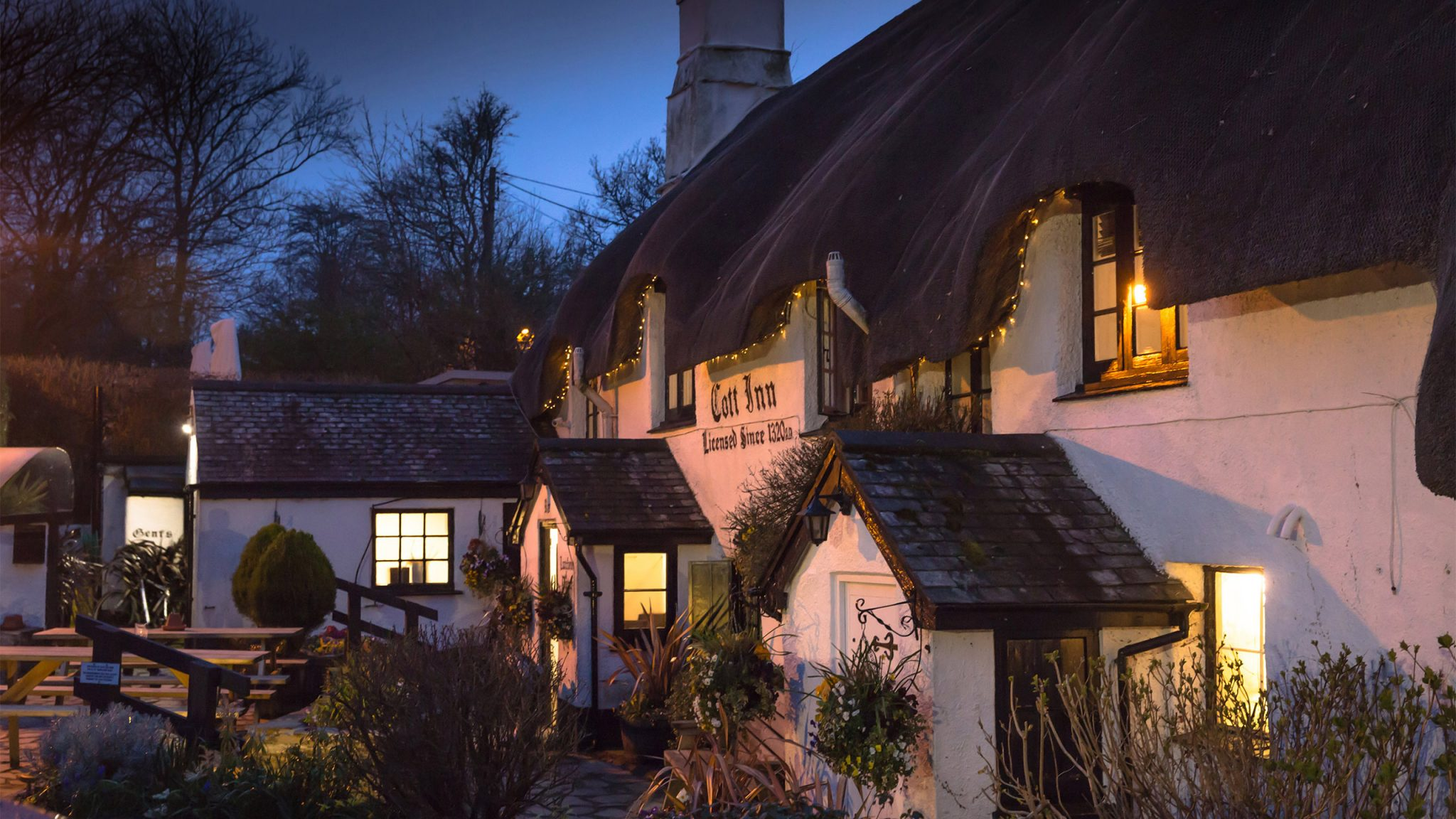 Twilight at The Cott Inn, Dartington Devon. Voted one of the best 30 pubs in the UK by the Telegraph Newspaper.