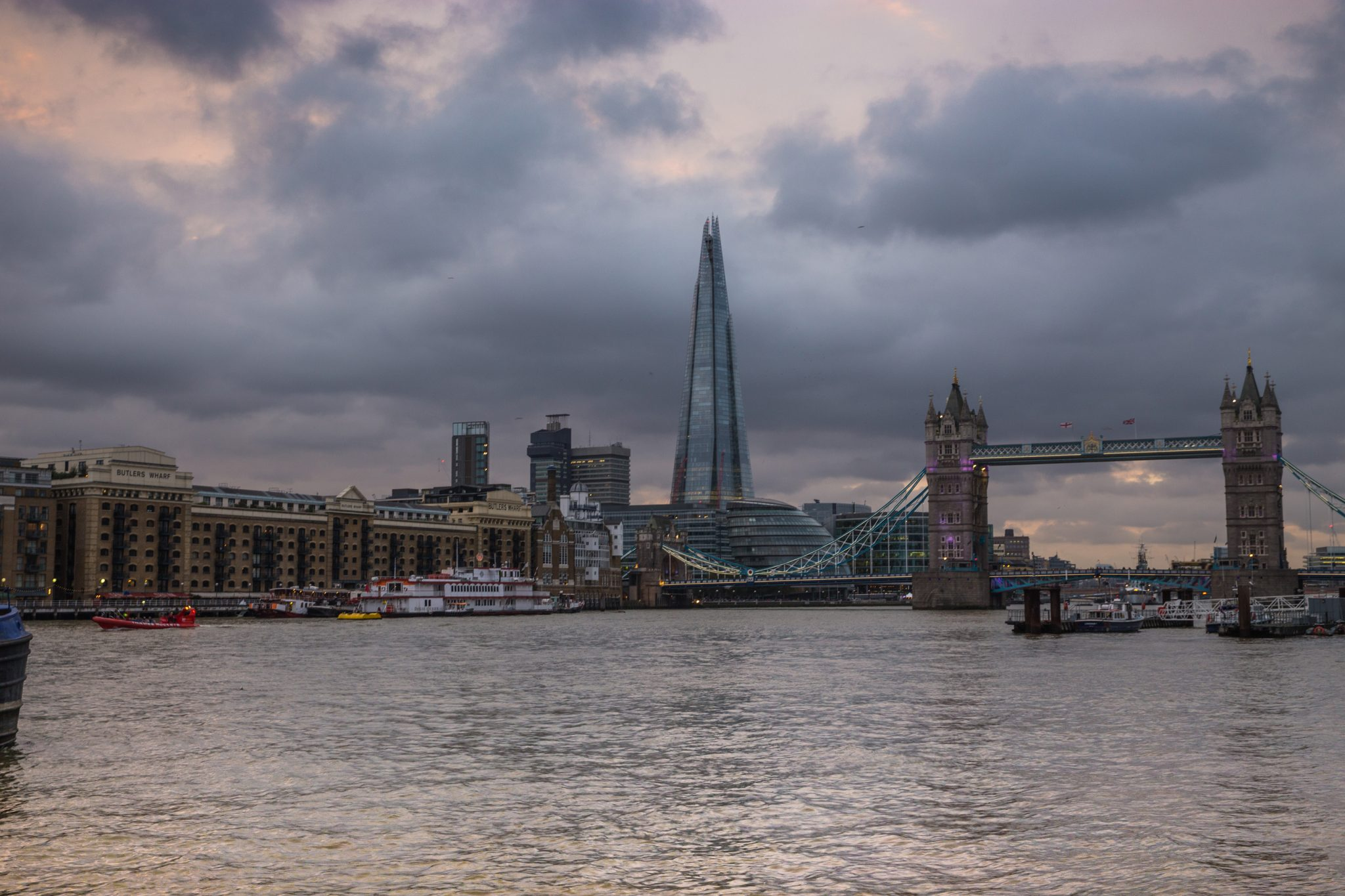 The Shard, Butlers Wharf and Tower Bridge, City of London, England. Showing Contrasting Architecture.