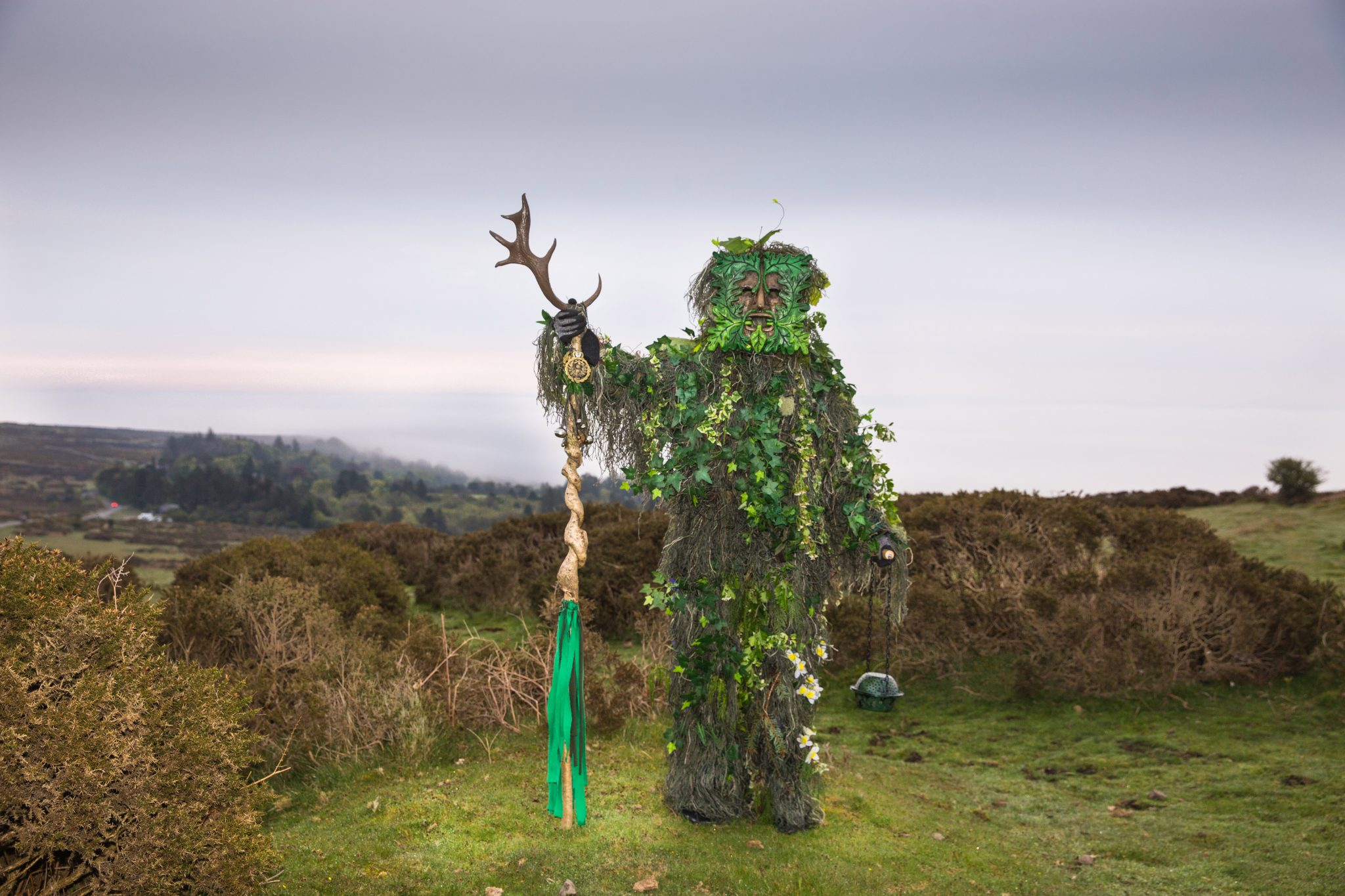 The Green Man at HayTor, on top of Dartmoor, Devon at dawn on May 1st. A symbol of rebirth, representing the cycle of growth each spring.