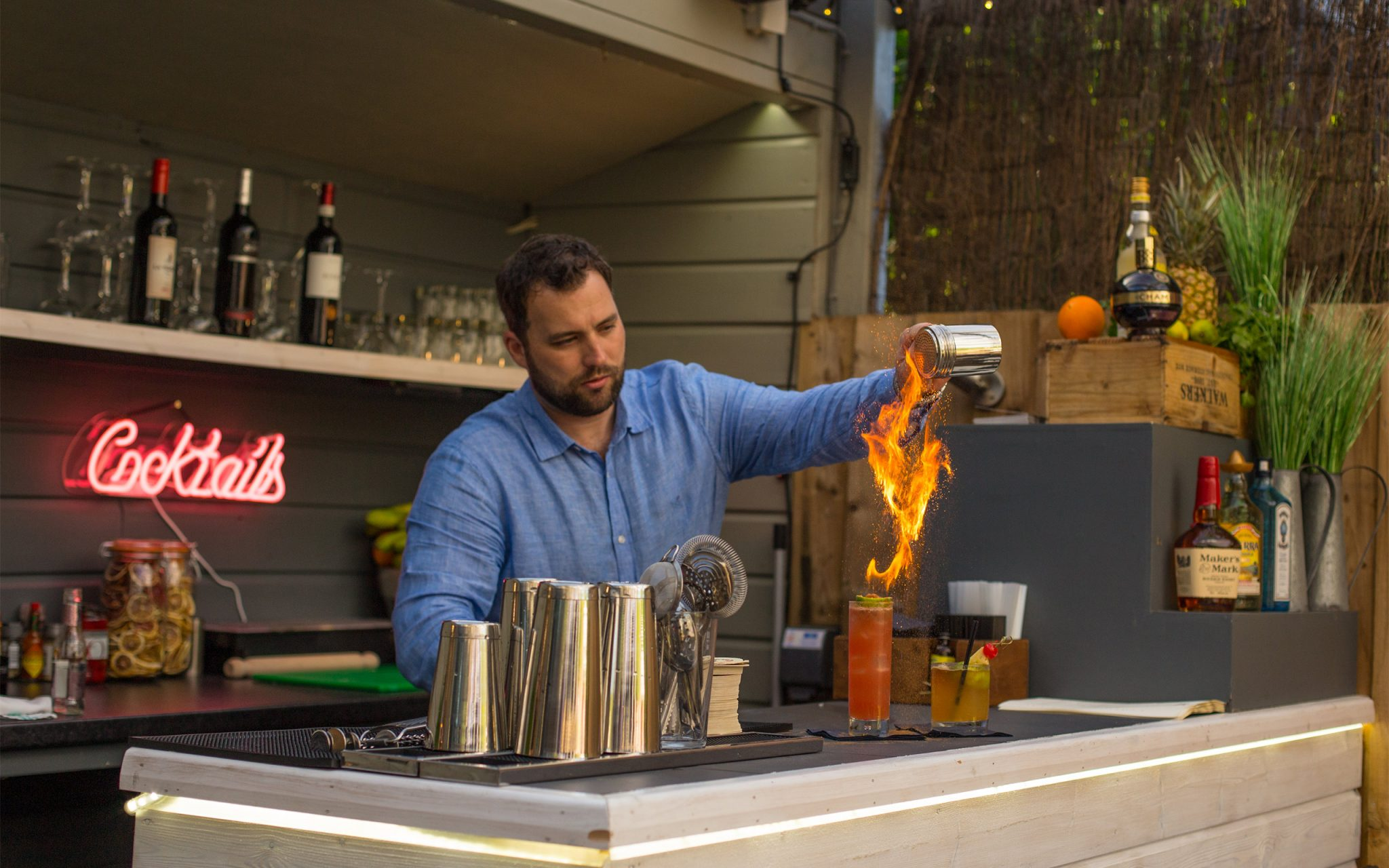 Fire Cocktail, Zombie cocktail, Fireball Cocktail, Wildfire Cocktail, Cott Inn, Dartington, Devon, English Country Pub, English Country Inn, Winner, Best British Pub, WINNER OF THE GREAT BRITISH PUB AWARDS 2019, Carey Marks Photography