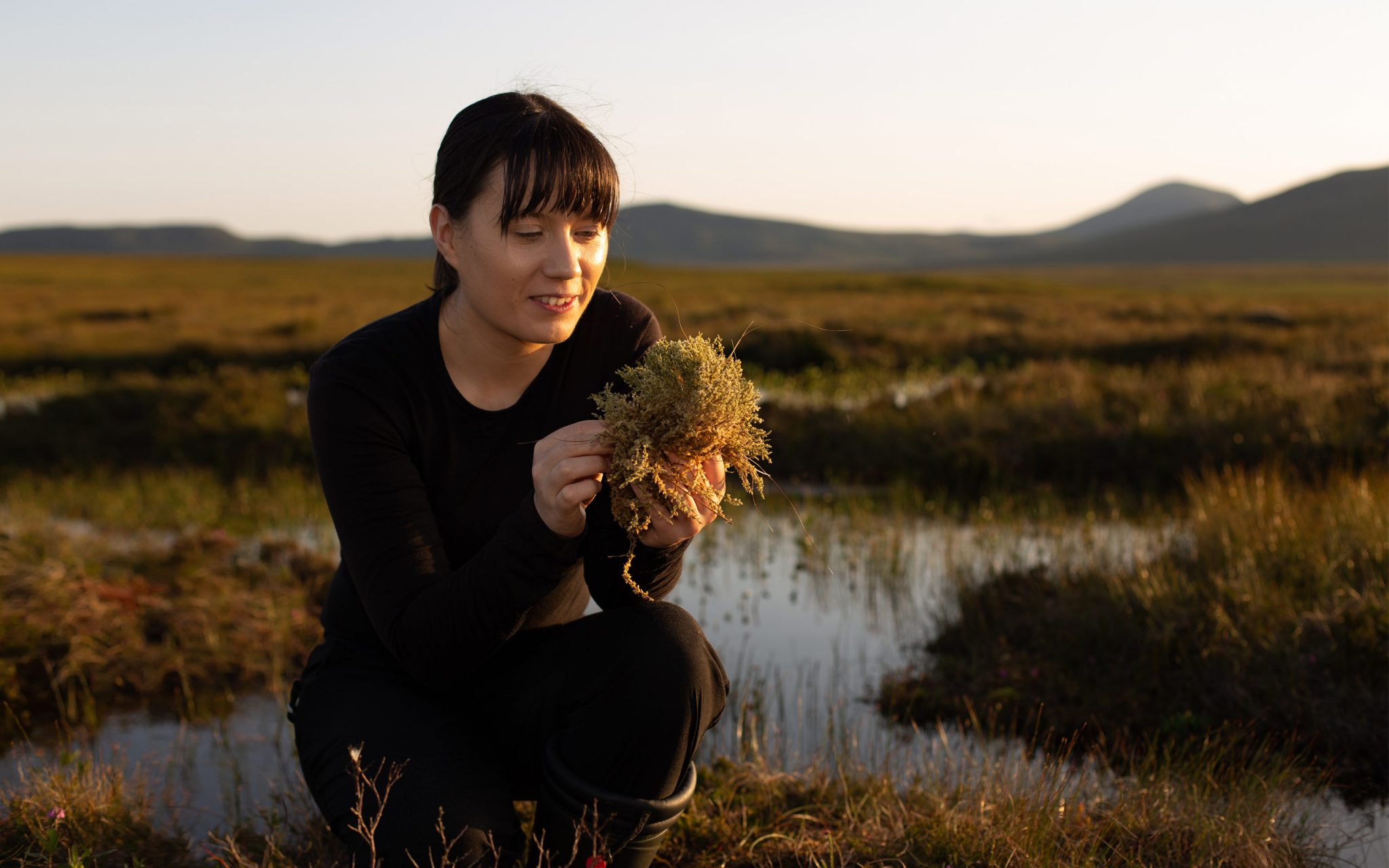 Dr. Nicholle Bell. Soil Scientist inspecting Sphagnum moss and other flora at Forsinard Flows, Highlands, Scotland. Specializing in the study of Peatlands and their carbon sequestration abilities. A participant and Principle Investigator on the NERC Soil Security Programme 2019.